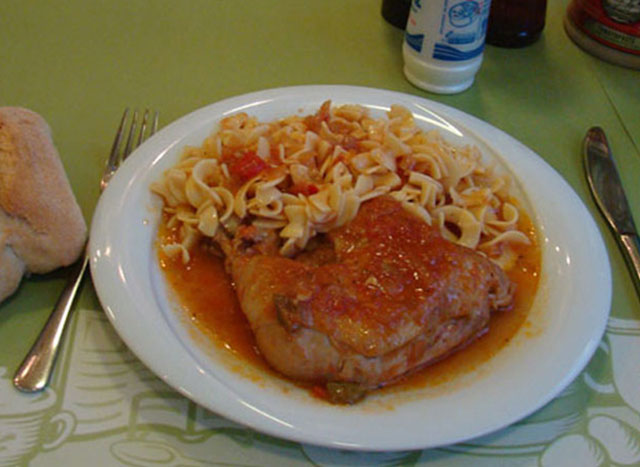 Chicken with noodles.